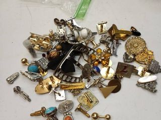 lot of costume jewelry cufflinks pins and more