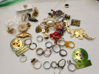 large lot of costume jewelry rings pins bracelets and more