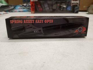 spring assist easy open pocket knife shaped like a bullet
