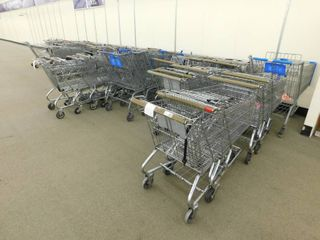 large lot Of Metal Shopping Carts Assorted Sizes  Kids   Adults Approx 40 Carts