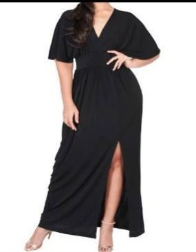 KOH KOH Women s Plus Size V Neck Kimono Batwing Sleeve Maxi Dress with High Slit