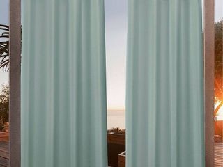 1 pair  84 x54  Canvas Grommet Top light Filtering Window Curtain Panels light Green   Nicole Miller  Damage  see photos