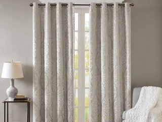 1 panel  Silver Orchid Genevois Knitted Jacquard Total Blackout Grommet Window Curtain Panel