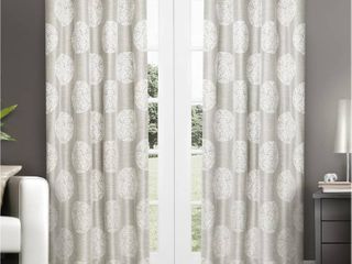 1 pair  ATI Home Akola Cotton Blend Jacquard Grommet Top Curtain Panel Pair