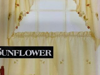 1 pair  Embroidered Sunflower Kitchen Valances  Curtain Valences  bottom panels as shown in photo  60 W x 36 l