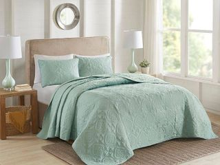 Seafoam   King   Cal King  510 Design Hayley 3 Piece Bedspread Set