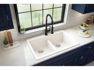 Karran Top Mount Double Equal Bowl Quartz Kitchen Sink   33  x 22  x 9    33  x 22  x 9  White Retail 237 99  Damage  see photos