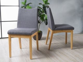 Dark Grey with Oak  Dimitri Mid Century Fabric Dining Chair  Set of 2  by Christopher Knight Home Retail 177 49