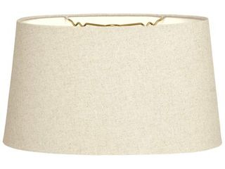 Royal Designs Shallow Oval Hardback lamp Shade  linen Beige  16 x 18 x 9 5 Retail 91 49