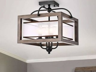 Antique Black  Alina Antique Black Metal Natural Wood Flush Mount with Fabric Shade Retail 142 49