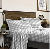 IZOD Buffalo Check Gray 6 piece Bed Sheet Set  2 Extra Pillowcases