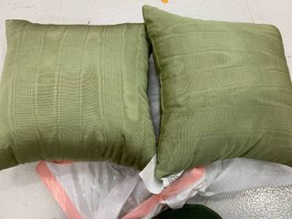 Pair of green 15x15 throw pillows