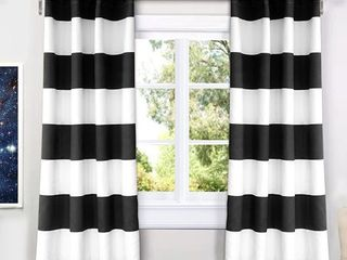 Driftaway Mia Stripe Room Darkening Grommet Unlined Window Curtains  Set Of Two Panels  Each 52aX63   Black