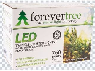 Forever Tree 760 lED Twinkle Cluster Warm White lights w Black Wire