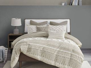 Taupe   King   Cal King  The Curated Nomad Natoma Cotton Chenille Printed Duvet Cover Set Retail 139 99