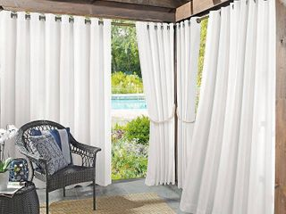 Sun Zero Reed Woven Indoor Outdoor UV Protectant Room Darkening Grommet Curtain Panel
