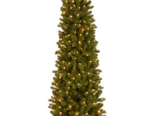 National Tree  Feel Real  Down Swept Douglas Fir Pencil Slim Hinged Tree with 350 Clear lights  7 1 2 Feet