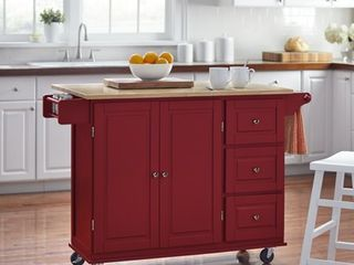Red  3 drawer Drop leaf Kitchen Cart Retail 388 49
