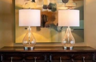 White  Silver Orchid Bert Teardrop Table lamps  Set of 2  Retail 87 49