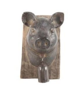 Striking pig head with bell wall plaque