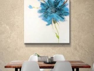 24x24  ArtWall Jan Griggs  Turquoise Daisy on White  Gallery Wrapped Canvas   Blue