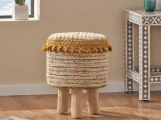Natural   Golden Yellow And Natural  Bladen Fabric Stool by Christopher Knight Home