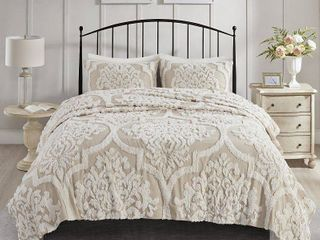 Full Queen 3pc Eugenia Cotton Chenille Damask Coverlet Set Taupe