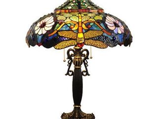 CHlOE lighting ZYGO Tiffany style 2 light Dragonfly Table lamp 19  Shade