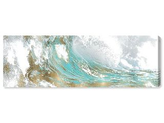 60 x 20  Oliver Gal Abstract Wall Art Canvas Prints  Wave in a Moment Aqua  Paint   Blue  Gold Retail 129 99
