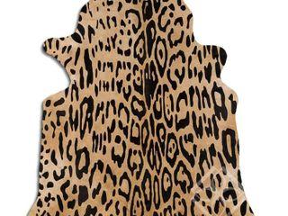 Cowhide Area Rugs PRINTED HAIR ON COWHIDE AMAZON JAGUAR ON BEIGE 2   3 M GRADE B size   22   32 sq ft     Big   Retail 302 49