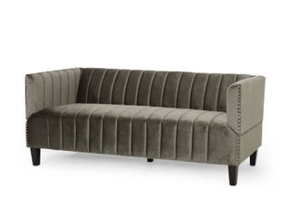 Weymouth Contemporary Channel Stitch Velvet 3 Seater Sofa by Christopher Knight Home  Retail 493 49