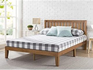 Wood Platform Bed with Headboard  Wood Slat  Queen  Retail 368 49
