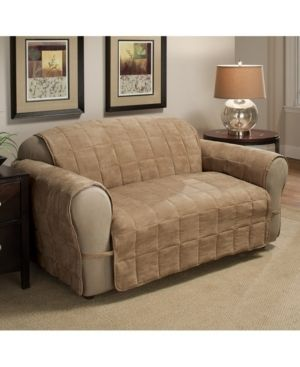 Innovative Textile Solutions 1 Piece Ultimate Faux Suede loveseat Furniture Cover Slipcover  Camel