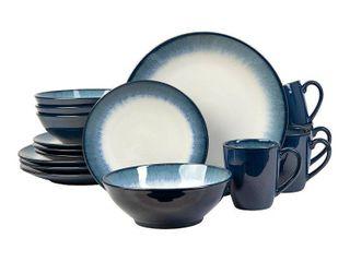 16pc Stoneware Novelle Dinnerware Set Blue   Sango