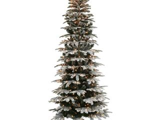 Puleo International 6 5 ft  Pre lit Slim Flocked Aspen Fir Artificial Christmas Tree with 450 Ul listed Clear lights