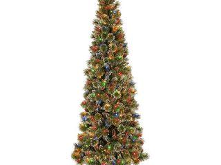 National Tree Company 9 ft  Pre lit Glistening Pine Slim Artificial Christmas Tree  Green