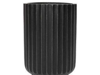 North Pole Fiberstone Black Cylinder Planter