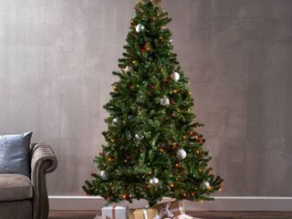 7 foot Noble Fir Pre lit Clear lED Hinged Artificial Christmas Tree by Christopher Knight Home Retail 195 99