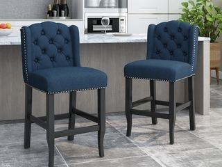 Foxcroft Wingback Counter Stool  SET OF 2