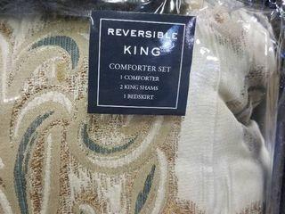 Madison Park Vivian Blush Pieced Pleated 7 piece Comforter Set   King   Retail 111 61