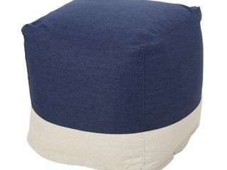 Tattnall Contemporary Two Tone Fabric Cube Pouf in Navy and Beige