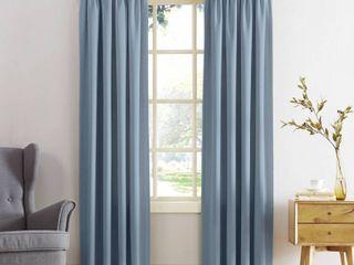 Vintage Blue Sun Zero Ren Room Darkening Rod Pocket Curtain Panel Pair