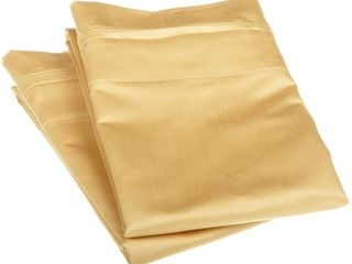 Standard Gold Superior Egyptian Cotton 1500 Thread Count Solid Pillowcase Set  Set of 2