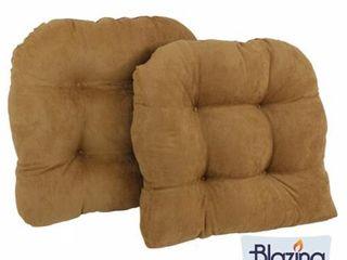 Blazing Needles 19 inch U shaped Microsuede Chair Cushion  Set of 2
