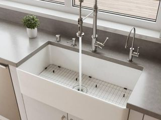 AlFI brand 36in White Thin Wall Single Bowl Smooth Apron Fireclay Kitchen Farm Sink