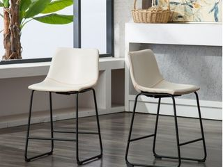 Roundhill lotusville Vintage PU leather Counter Height Stools  White  Set of 2