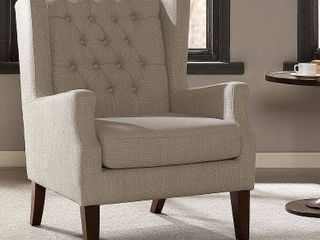 Madison Park Roan linen Button Tufted Wing Chair  Retail 345 86