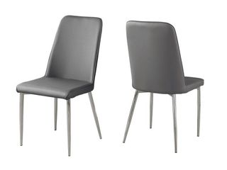 Dining Chair   Gray leather   Chrome   EveryRoom