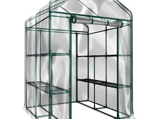 Walk In Greenhouse  Indoor Outdoor with 8 Sturdy Shelves Grow Plants  Seedlings  Herbs  or Flowers by Home