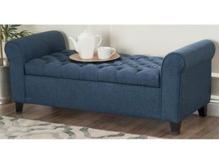 Keiko Contemporary Rolled Arm Fabric Storage Ottoman Bench by Christopher Knight Home  Retail 184 49